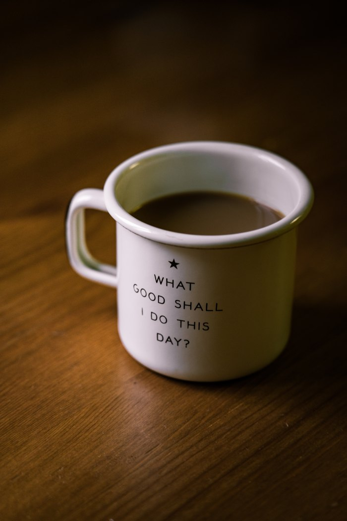 Cup of coffee with the words: What Good Shall I Do This Day?